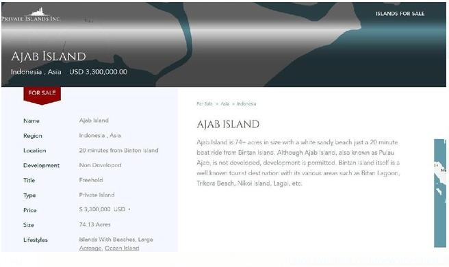 Pulau Ajab Kepri di Jual di Situs Online Dengan Harga Fantastis