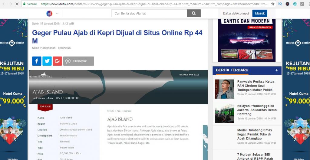 Gawat 2 Pulau Milik Indonesia Kembali di Jual di Situs Online
