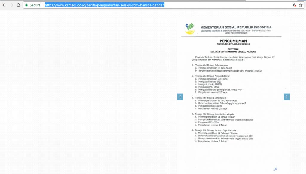 KEMSOS mengumumkan Seleksi SDM Bansos Pangan