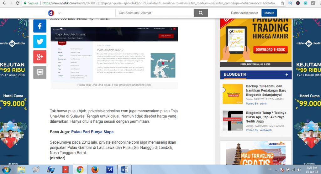 Geger 2 Pulau Kecil Milik Indonesia di Jual di Situs Online
