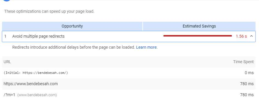 Cara Mengatasi Avoid Multiple Page Redirects di PageSpeed Insight