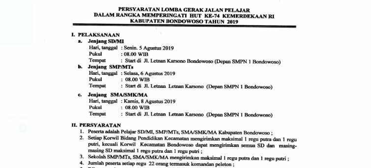 Jadwal Lomba Gerak Jalan HUT RI ke 74 Kabupaten Bondowoso