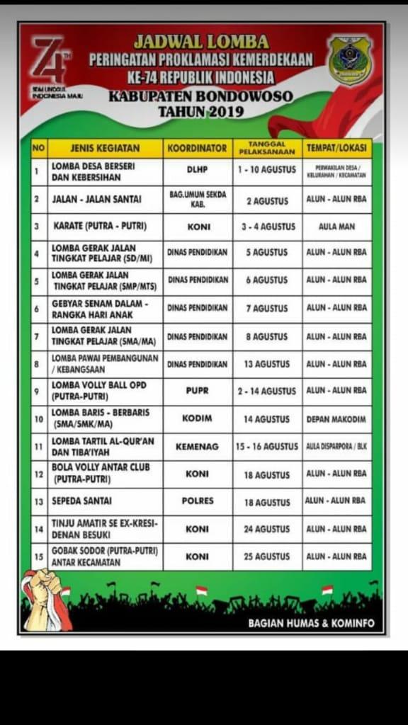 Jadwal Lomba Agustusan HUT RI ke 74 Kabupaten Bondowoso