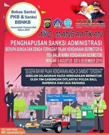 Info Pemutihan Pajak Kendaraan Bermotor Provinsi Bali 2019