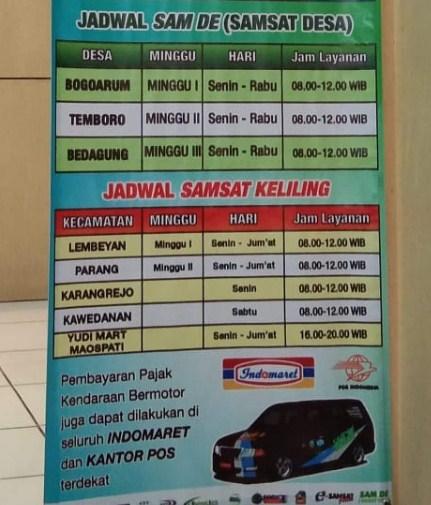 Jadwal Samsat keliling Kab. Magetan