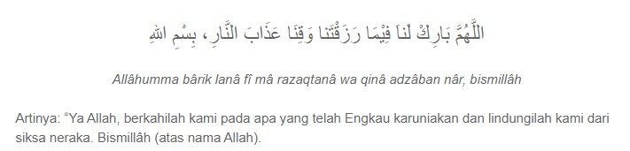 Doa Sebelum Makan dan Minum
