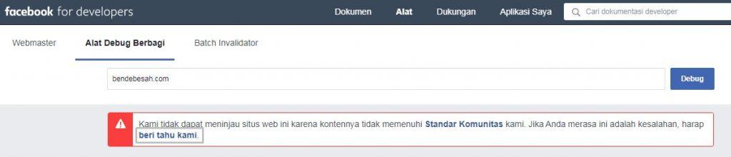 Cek situs error di Facebook