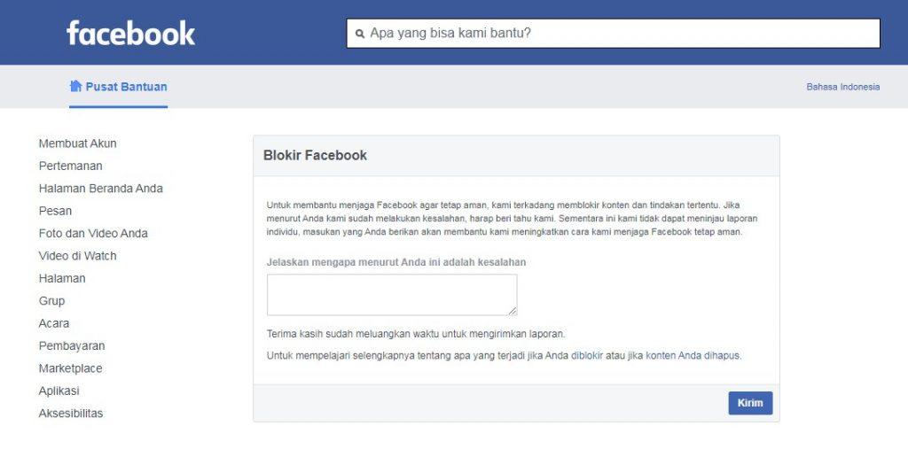 Menu Form banding facebook