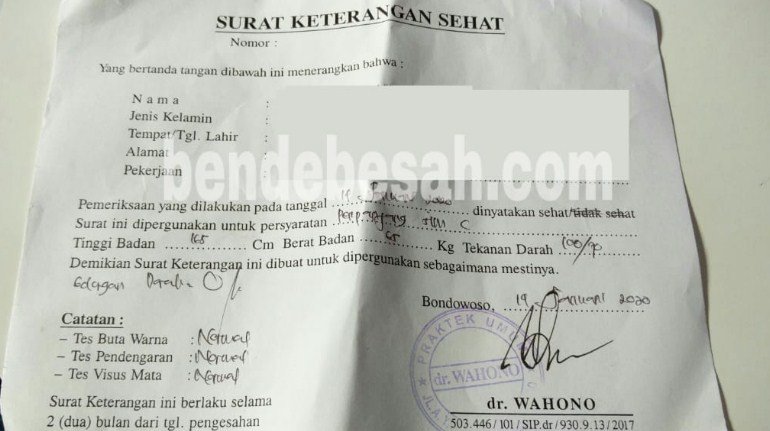 Surat Keterangan Sehat Jasmani Untuk Buat SIM