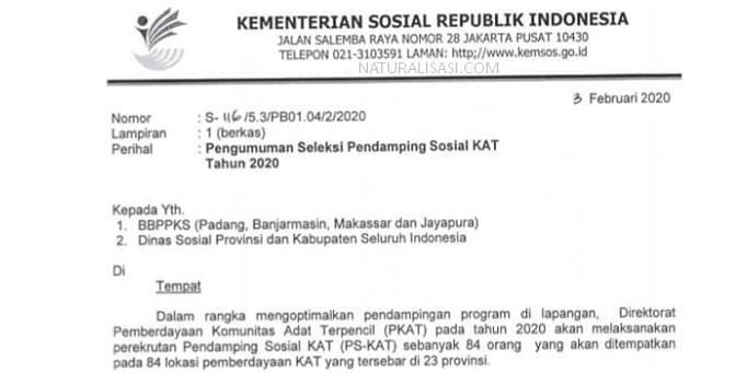 Seleksi Pendamping Sosial Komunitas Adat Terpencil (PS-KAT)